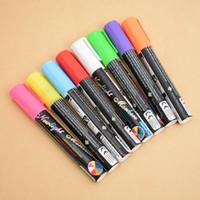 флуоресцентные цвета оптовых-8 Colours Highlighter Pen 5mm Liquid Chalk Fluorescent Neon Marker LED Glass board Art Marker Pens Office Supplies
