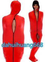 red lycra spandex zentai anzug großhandel-Red Lycra Spandex Mumienanzug Kostüme Unisex Schlafsäcke Mumienkostüme Outfit Mit internen Armstulpen Halloween Cosplay Kostüme DH111