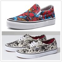 Wholesale new fabric collections - 2018 New Canvas Shoes Marvel Collection Unisex Casual Striped Classic low cut Cartoon Non-Slip Summer Skate Shoe Sneakers Size 36-44