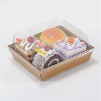 Wholesale Paper Sandwich Box - Sandwich Box Salad Dessert Hotdog Cake Packaging Boxes with Transparent Plastic Lids Kraft Paper Cardboard pastry box