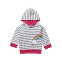 camisolas dos meninos de harmonização venda por atacado-Moda Gêmeo Matching Kid Baby Girl Girl Primavera Outono Algodão Rainbow Listrado Com Capuz Camisola Outerwear Roupas