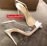 bottes en cuir verni blanc femmes achat en gros de-Livraison gratuite 120mm mode femmes pompes blanc en cuir verni pointe toe talons hauts Slingback T strappy chaussures bottes en cuir véritable