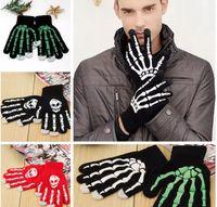 guantes esqueleto de pantalla táctil al por mayor-Skeleton Touch Screen Gloves Halloween Smart Phone Tablet Touch Screen Guantes Winter Mittens Warm Full Finger Skull Gloves 4 Estilos