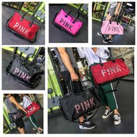 Wholesale love pink large - Love Sequins Pink Letter Duffel Bags Storage Bag Big Large Pink Glistening Men Women Travel Hangbag Waterproof Luggage Gym Bags AAA606