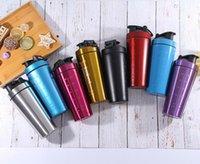 protein karıştırıcı şişe toptan satış-32 oz katı renk Paslanmaz Çelik Protein Shaker Su Şişesi Spor Şişe Büküm ve Kilit Blender Mikser Şişe