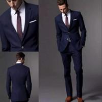 esmoquin azul marino slim fit al por mayor-Dark Navy Blue Men Suit 2018 Fashion Groom Suit Trajes de boda para hombres Slim Fit Groom Tuxedos para el mejor hombre (chaqueta + pantalones)