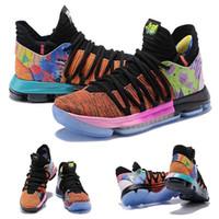 kd mid top basketball schuhe großhandel-(Mit Schuh-Kasten) Was die Schuhe KD 10 für Verkauf hochwertige Kevin Durant-Basketball-Schuh-Speicher-freies Verschiffen Größe 40-46