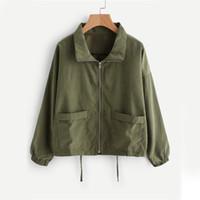ingrosso zip breve-Giacca da donna con zip con coulisse verde manica lunga risvolto cappotto autunno casual femminile basic nuova primavera tasche giacca da lavoro