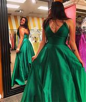 Wholesale Long Taffeta Formal Evening Dress - Spaghetti Straps A-Line V-neck Floor-Length Satin Evening Dress Sleeveless With Ruffles Prom Dresses Simple Long Formal Dress