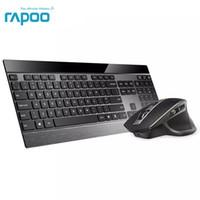 nuevas computadoras portátiles de color púrpura al por mayor-Rapoo Multi-modo Inalámbrico Teclado de metal delgado Recargable Laser Mouse Combo Bluetooth 3.0 / 4.0 2.4G Conmutador entre 4 dispositivos