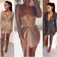 uzun örme kışlık elbiseler toptan satış-2018 Yepyeni Kadınlar Bayanlar Kış uzun Kollu Rahat Gevşek Örme Kazak Jumper Mini Elbise kazak Seksi Girme Mini Elbise Y1891102