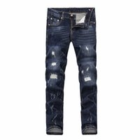 Wholesale jeans tight pants - 2018 French fashion Pierre straight jeans, men's jeans, stretch jeans, casual bike holes, men's tight pants, elastic pants #13327