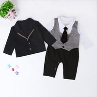 Wholesale 12 month onesie - Baby Boys Gentlmen outfits 2pc sets black outer wear+houndstooth patterns long sleeve romper Toddlers handsome onesie sets suits for 1-2T