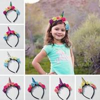 Wholesale Cosplay Animal Ears - INS Kids Unicorn Hairband Girl's Headband hairwear Hair Sticks Clasps Crown Unicorn corner flower ears hairwears for Birthday Party cosplay