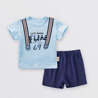 ternos de verão do menino venda por atacado-2018 verão roupas infantis roupas de bebê de algodão moda masculina bebê calças 1-3 anos de idade menino de duas peças terno