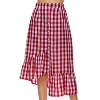 0d5c5bd17 Desinger saias das mulheres fishtail houndstooth de volta à escola nova  2018 lápis de algodão de cintura alta saia midi vintage vermelho preto