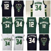 Wholesale Parker Top - 2018 Cheap 34# Giannis Antetokounmpo #12 Jabari Parker basketball jerseys Stitched Top Quality