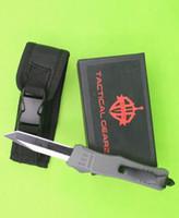 Wholesale grey knife resale online - Drop Shipping Grey Handle Inch Mini Auto Tactical Knife C Single Tanto Fine Edge Titanium Blade EDC Pocket Knives