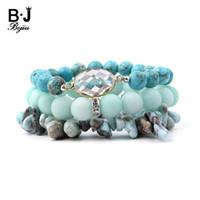 грушевые прелести оптовых-BOJIU Natural Stone Pear Crystal Charm Bracelet For Women Jewelry Teal Blue Howlite Stretch Chips  Bracelets Set Femme 152