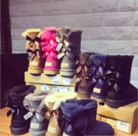 Wholesale Thick Heel Tube - New Australian snow boots thick leather bow in the tube snow boots cotton shoes