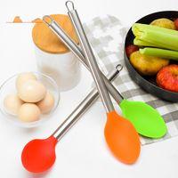 кухонная посуда из нержавеющей стали оптовых-Силиконовые Truner трубы из нержавеющей стали ручка кухонная совок Ложка лопатка антипригарное Кухонная посуда еды 4 5mr в