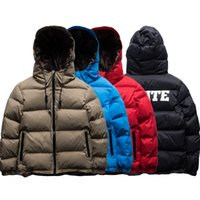 Wholesale long puffer - Men's Puffer Jacket Striped Cotton Padded Parka Coat Long Sleeve Hooded Quilted Jacket High Quality Winter Warm Overcoat Outerwear OSG0901