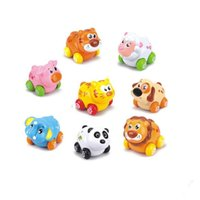 Wholesale 8 Baby Toddlers Push and Go Toy Cars Friction Powered Cartoon Animals Toy Cars Play Set