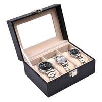 ingrosso organizzatori di scatole-Scatola di orologio calda 2/3 griglie scatola di gioielli in pelle nera orologio custodia per orologio titolare di visualizzazione di archiviazione caso organizzatore