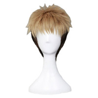 ingrosso parrucche bionde uomini-Parrucche da uomo bicolore cosplay per parrucche corte nere