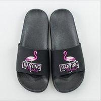 zapatillas de la habitación del hotel al por mayor-Flamingo Slippers Summer Scuffs Hotel Beach Unisex Slides para mujer Habitación de ducha antideslizante Sandalias de interior