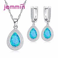 conjuntos de jóias de opalas de fogo azul venda por atacado-Jemmin Luxo Gota De Água Azul Fire Opal Jóias Set Moda Pingente de Colar + Brincos 925 Sterling Siver Mulheres Conjunto de Jóias