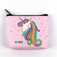 fermuar para çantası deseni toptan satış-1 ADET Sevimli Kız Unicorn Sikke çanta Çocuklar Mini PU Cüzdan Tutucu Karikatür Desen Fermuar Sikke Kılıfı Öğrencileri Noel Hediyesi