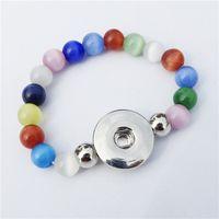 noosa perlen schnappen großhandel-Multicolor Cat Eye Perlen Metall 18mm Druckknöpfe Handmade Socket Armband 15 cm Länge Mädchen Kinder Noosa Chunks Schmuck