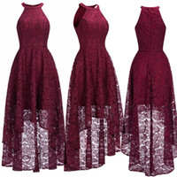 Wholesale real photo occasion dress for sale - Sexy Halter Cheap Burgundy Lace Evening Dresses Halter Sleeveless High Low Designer Formal Occasion Wear Christmas Party Gown CPS1151