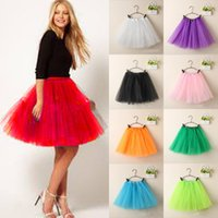 Wholesale wholesale tulle skirt - Fashion Women Ladies Girls Tulle Tutu Mini Organza 3 layere Party Skirt underskirt Princess Party Skirt Gown