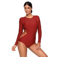traje de baño de color rojo al por mayor-Traje de baño de una sola pieza Ropa de mujer Hollow Out Traje de baño acolchado de traje de baño de cintura alta Boxer Brief Summer Beach Wear Rojo Violeta Negro Colores