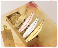 Wholesale Diy Stationery - Creative High-grade Metal Golden Silver Rose Feather Bookmark Document Book Mark Label DIY Gifts Box Beautiful Stationery