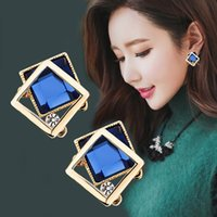 Wholesale Green Square Earrings - Famous Brand New Fashion 925 sterling silver ear pin Wedding Jewelry Big Blue Earring Crytal Square Stud Earrings For Women
