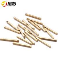 Wholesale 14k Solid Gold Charms - 2.5*30mm Solid Brass Stick Drop stick Bar Charms for Jewelry Making Gold-color Copper Jewelry blank tag bar Supplies