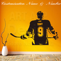 виниловые спортивные цитаты оптовых-New art design home decoration  ice hockey cheap wall Sticker Removable house decor name quote sports decals in rooms