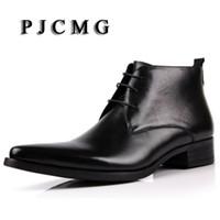 ingrosso stivaletto in pelle marrone-PJCMG Fahsion Classic Vintage Cowboy Stivaletti punta a punta Casual in vera pelle marrone / Blackd Designer Mens Dress Boots