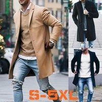 Wholesale Winter Trenchcoat - S-XXXXXL Winter Men Plus Size Coat Casual Long Sleeve Trenchcoat Gentleman Woolen Overcoat Warm Windbreaker