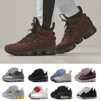 Wholesale mens running bag - 2018 new high Quality Lebron 15 Men Basketball Shoes Black Gum Sports Shoes Mens Running Shoes Cavs Ashes Ghost lebrons Sneakers