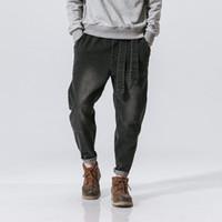 ingrosso pantalone jeans cinese-I piedi larghi maschili ansimano il vento cinese per fare i vecchi jeans larghi lavati in vita