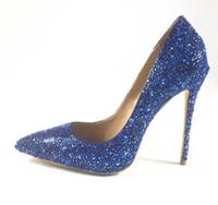 ingrosso scarpe alte in bling blu-2018 moda donna nuovo arrivo blu borchie cristallo slip-on tacchi alti scarpe sexy scarpe a punta delle donne pompe bling bling donne partito scarpe