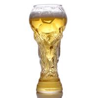 produtos de cristal de chumbo venda por atacado-2018 Rússia Copa Do Mundo Caneca De Cerveja De Futebol Copa Do Mundo de Futebol Canecas De Cerveja De Vidro Caneca De Vidro Copos De Vinho Transparente