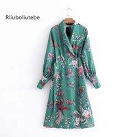 çiçek baskılı tunik toptan satış-2018 uzun kimono uzun wrap elbise kadın tunik bahar yaz çiçek baskılı robe Hırka Kemer gömlek elbise de mujer verano