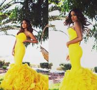 parlak sarı akşam elbiseleri toptan satış-Parlak Sarı Mermaid Abiye Katlı Fırfır Sevgiliye Dubai Vestidos De Dresses Parti Elbise Balo Örgün Pageant Ünlü Abiye