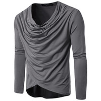 camisas largas cortinas hombres al por mayor-Los hombres de la primavera y el otoño forman la camiseta drapeada de manga larga de color puro de ocio para hombre tamaño S-2XL