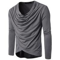 drapejar a camisa venda por atacado-Primavera E No Outono Homens Moda Pure Color Lazer Manga Comprida Drapeado T-shirt Para O Homem Tamanho S-2XL